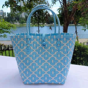 Sea Blue & White Penan Basket Bag