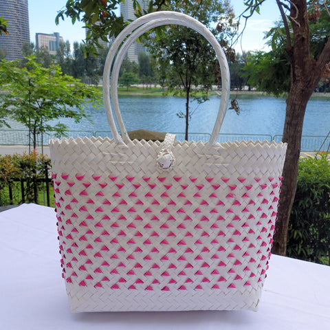 Hot Pink & White Candy Tote Bag