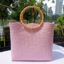 Load image into Gallery viewer, Pink Bamboo Handle Penan Tote Bag