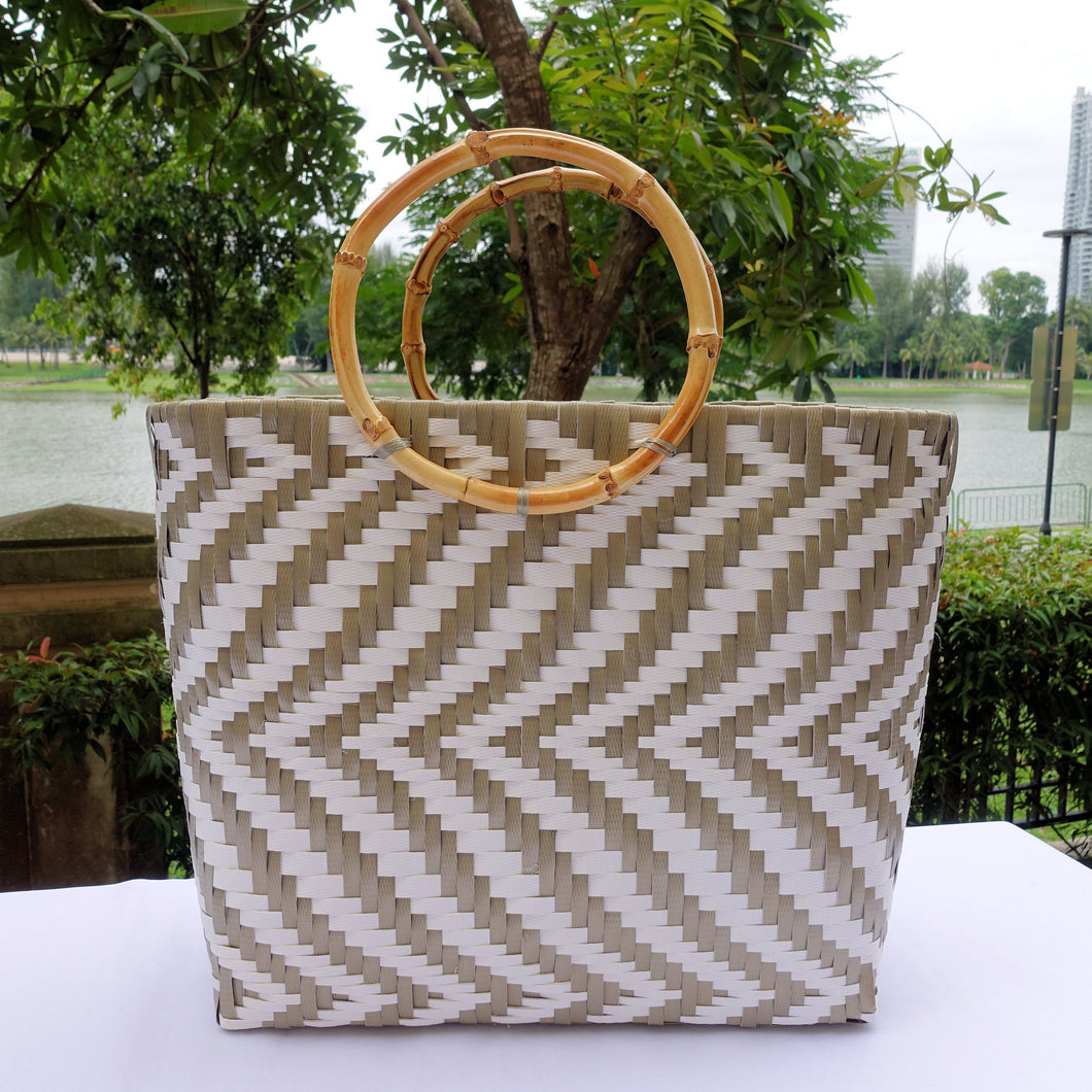 Mocha & White Bamboo Handle Penan Tote Bag