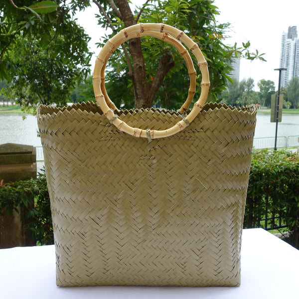 Mocha Bamboo Handle Penan Tote Bag