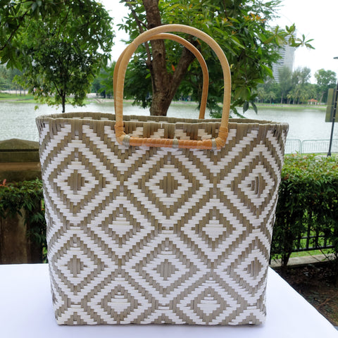 Mocha and White Rattan Handle Penan Tote Bag