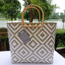 Load image into Gallery viewer, Mocha and White Rattan Handle Penan Tote Bag