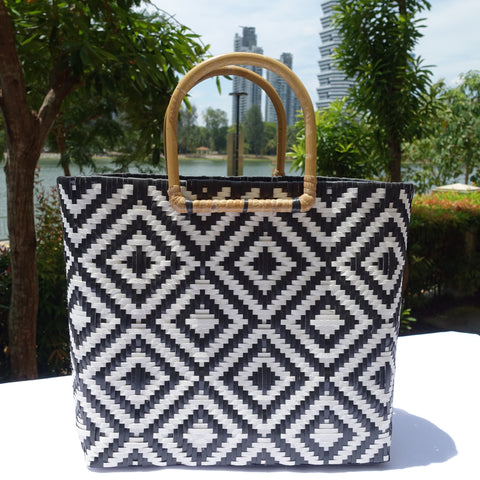 Black & White Rattan Handle Penan Tote Bag