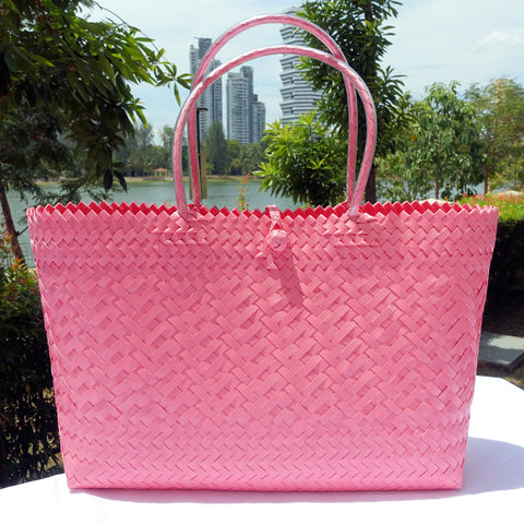 Bright Pink Large Handwoven Penan Tote Bag