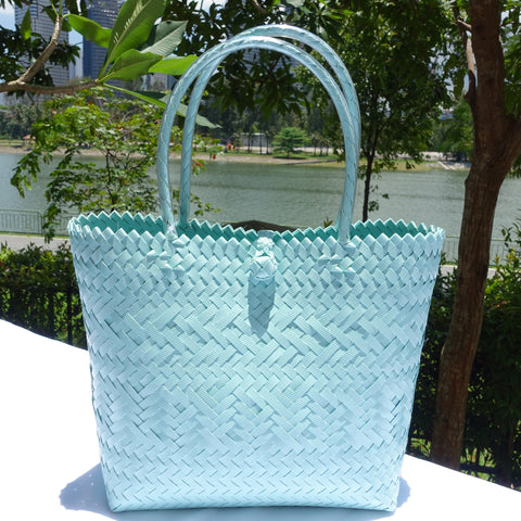 Teal Blue Penan Tote Bag