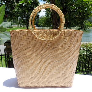 Blushed Gold Bamboo Handle Penan Tote Bag