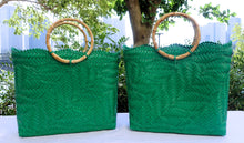 Load image into Gallery viewer, Jade Green Bamboo Handle Penan Tote Bag