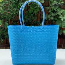 Load image into Gallery viewer, Aqua Blue Handwoven Penan Tote Bag