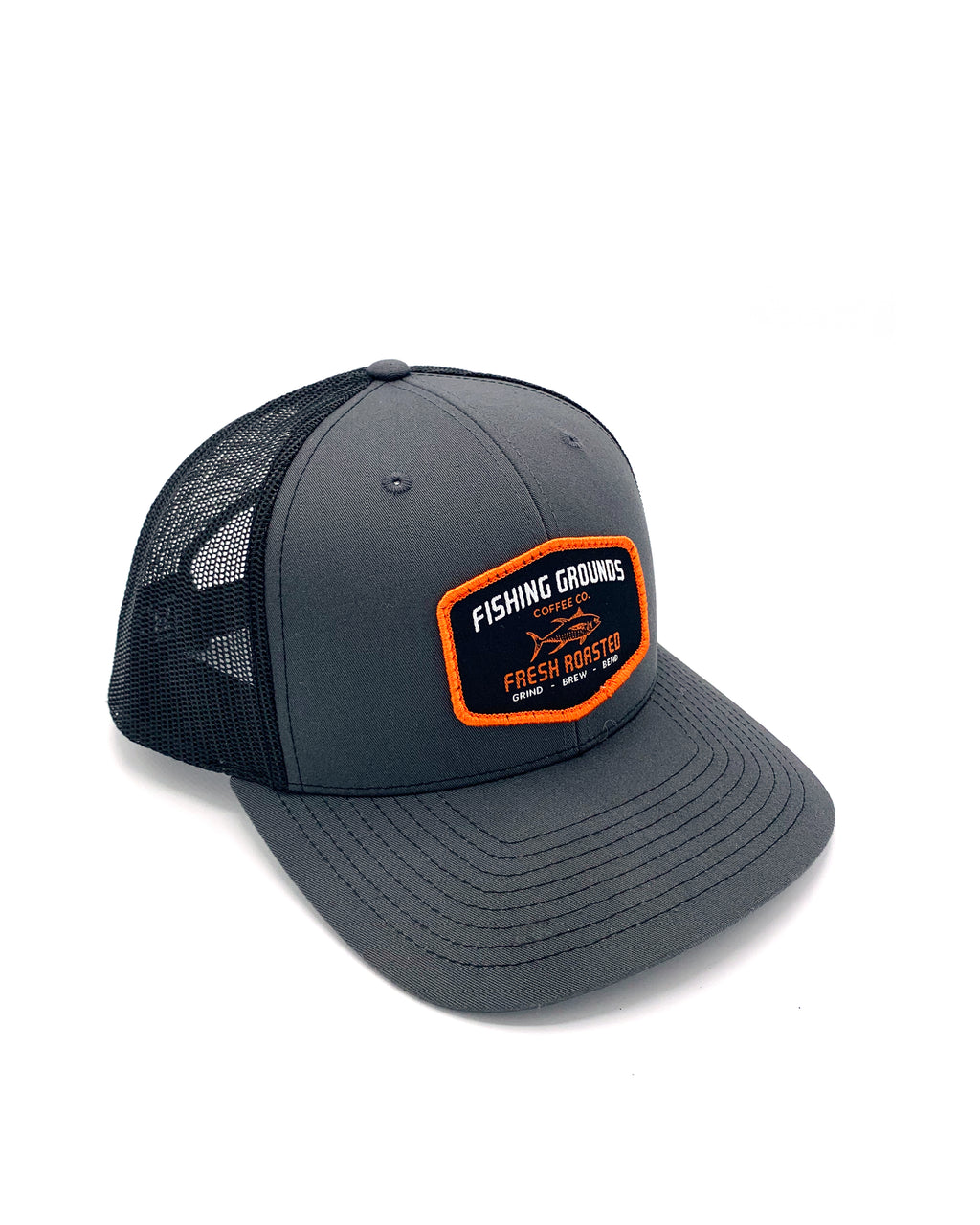 FG Patch Snap Back Trucker Hat with Semi-Curve Bill - Gray/Black - Fishing Grounds Coffee Company