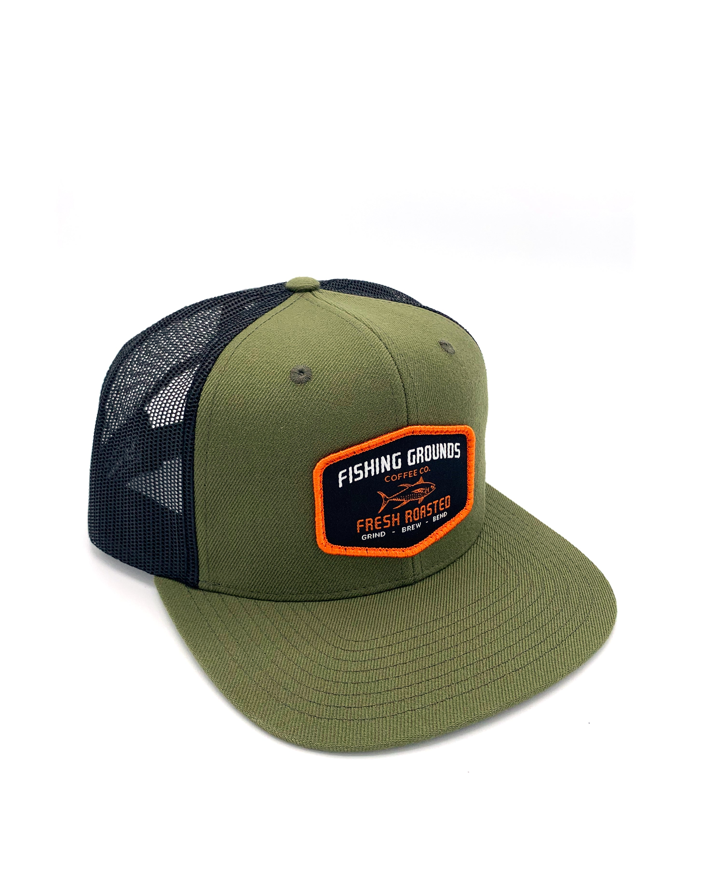 FG Patch Snap BackTrucker Hat with Flat Bill - Green/Black - Fishing Grounds Coffee Company