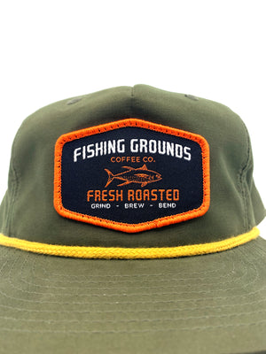 FG Patch Snap Back Rope Hat - OD Green - Fishing Grounds Coffee Company