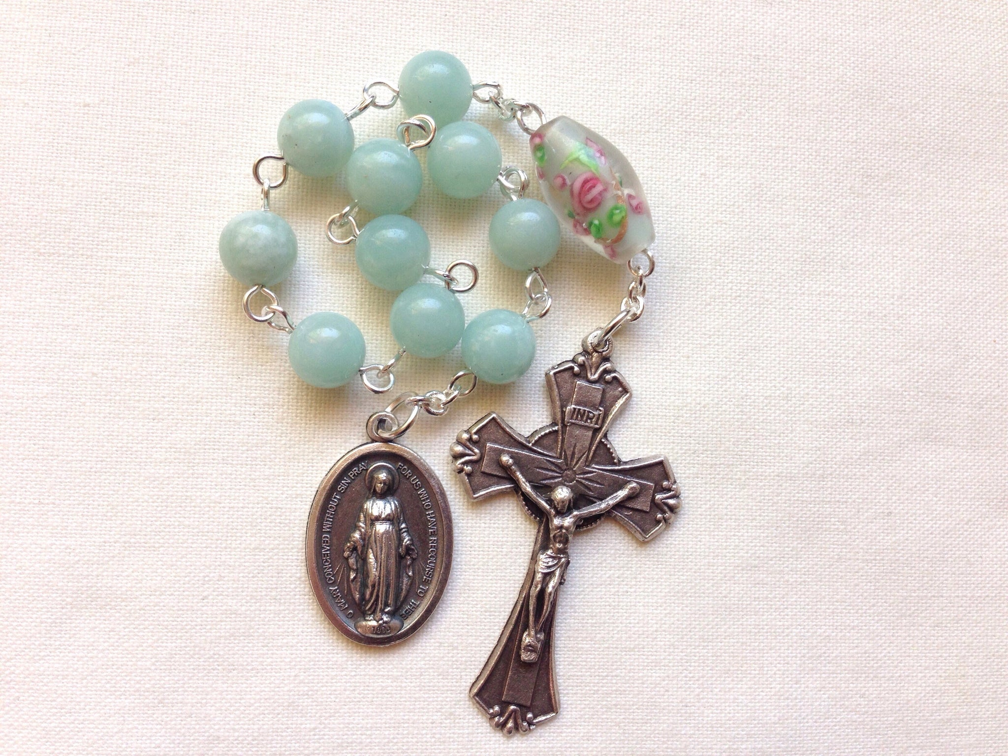 Amazonite pocket rosary with Miraculous Medal