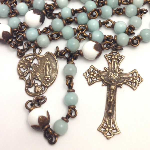 Bronze Miraculous Medal rosary with amazonite beads