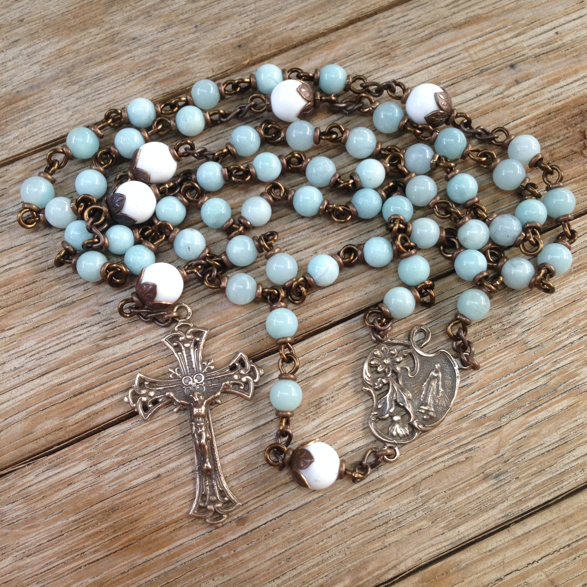 Bronze Rosary made with Amazonite beads