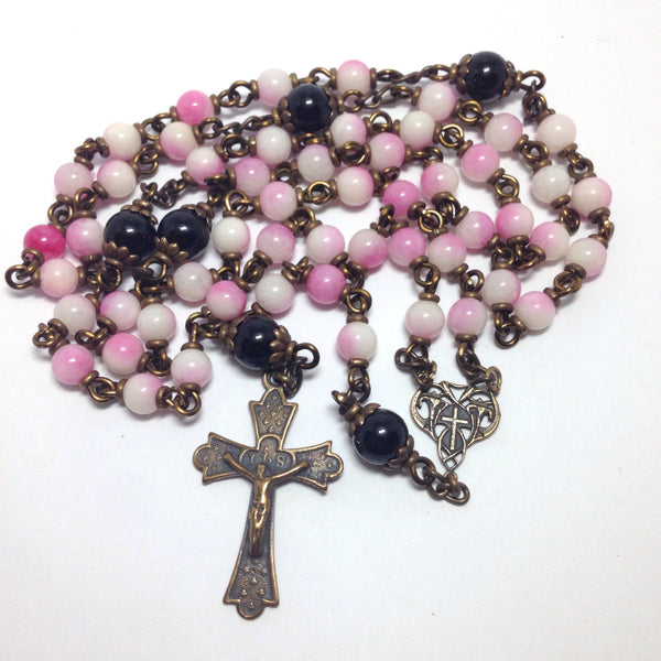 Bronze rosary with pink jade beads