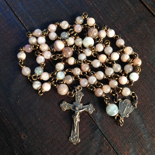 Bronze rosary with sunstone beads