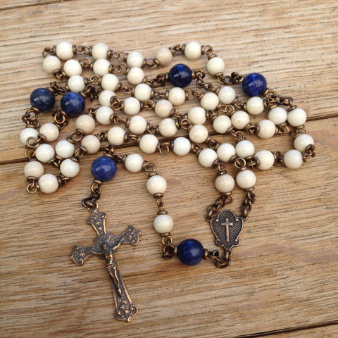 Bronze rosary with Riverstone and Sodalite beads