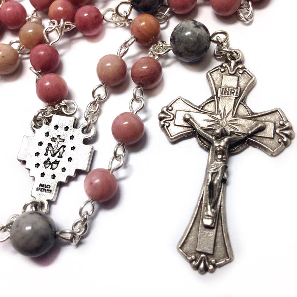 Miraculous Medal Rosary with pink and grey beads