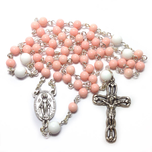Pink Miraculous Medal rosary