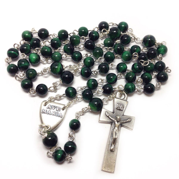 Green Pax Catholic Rosary beads