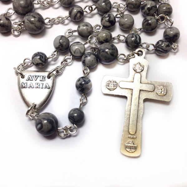 Pax Rosary made with grey crazy lace agate beads