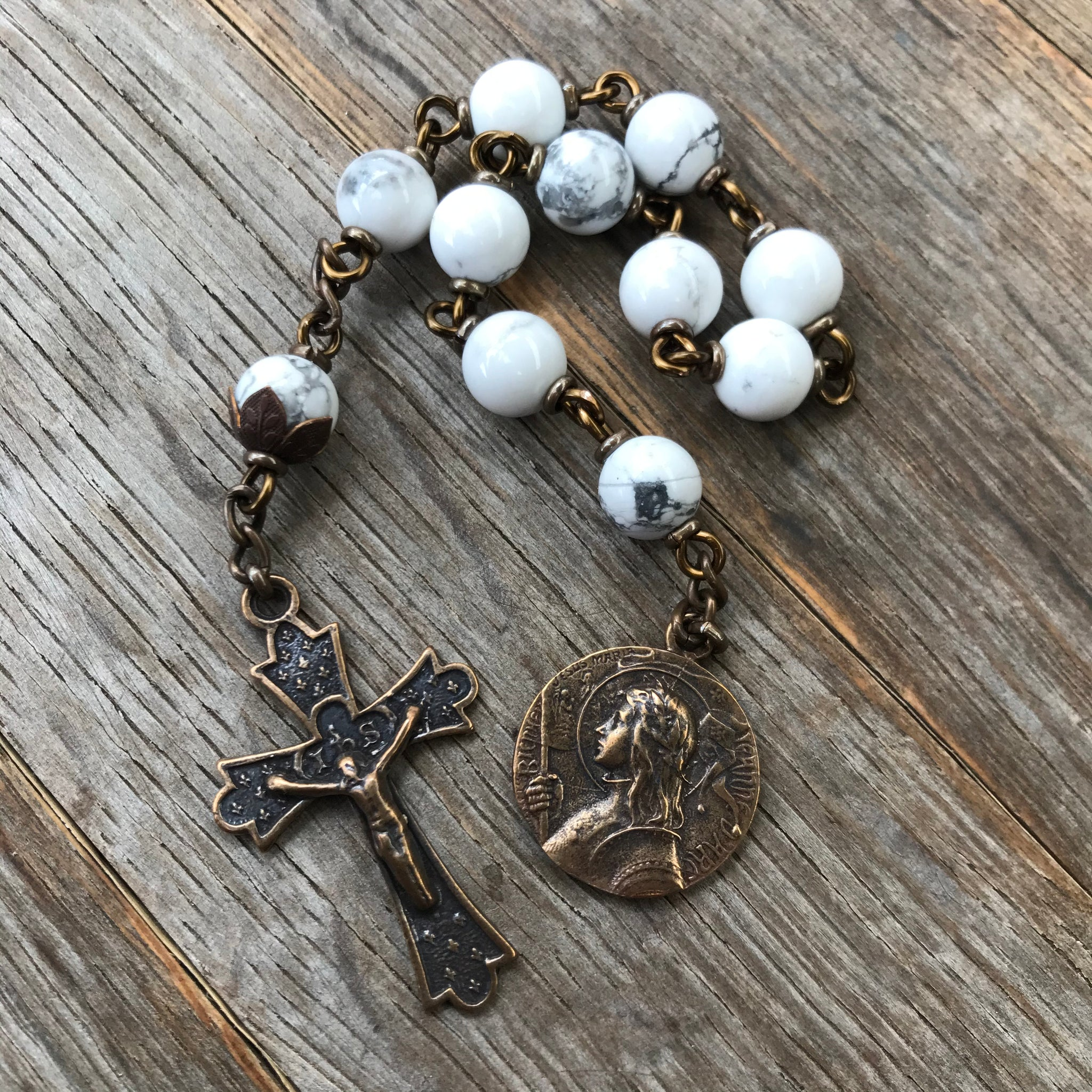 Bronze St. Joan of Arc Pocket Rosary