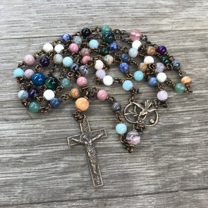 Bronze heirloom rosary with assorted gemstone beads