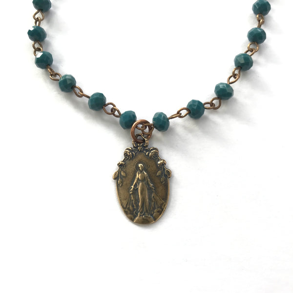 Turquoise Bronze Miraculous Medal Necklace