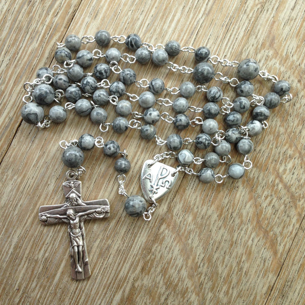 Grey Pax Catholic rosary beads
