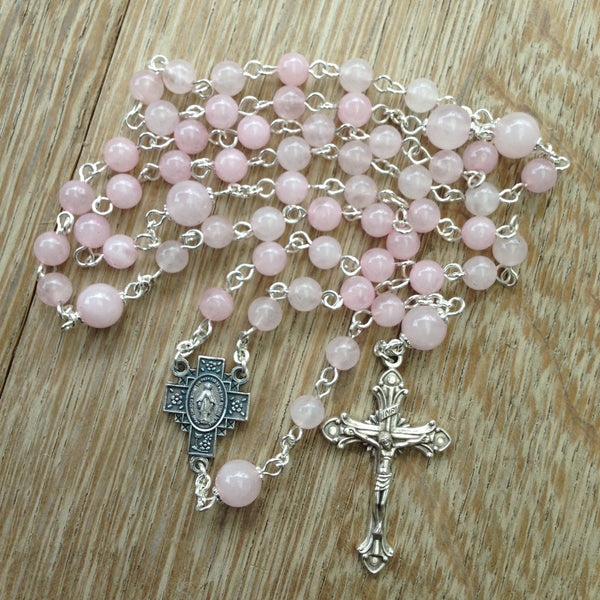 Pink quartz Catholic rosary beads