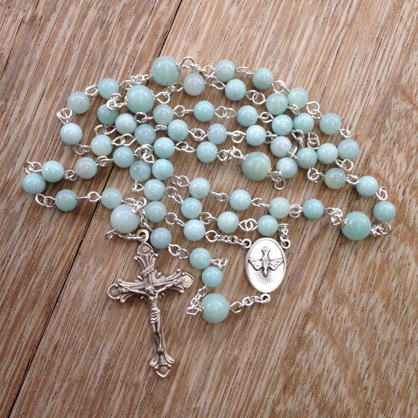 Holy Spirit Rosary with Amazonite beads