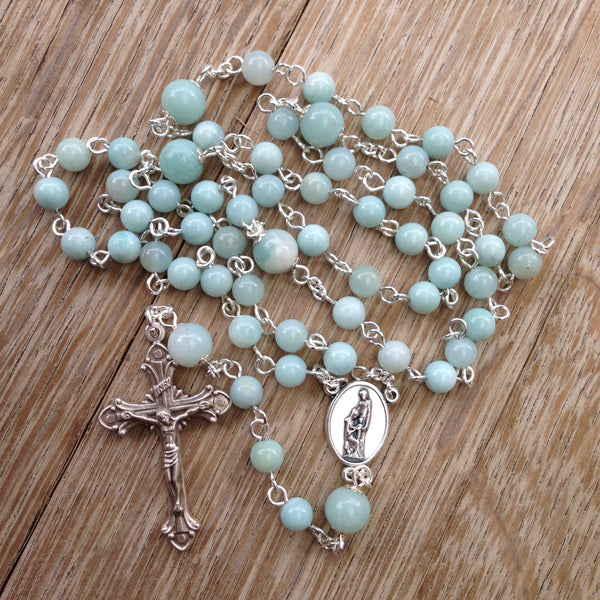 Holy Family Rosary with Amazonite beads
