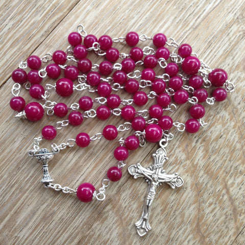 Holy Communion Rosary with fuchsia beads