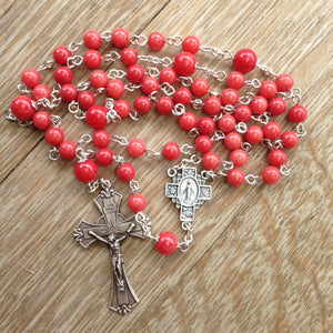 Miraculous Medal rosary with red beads