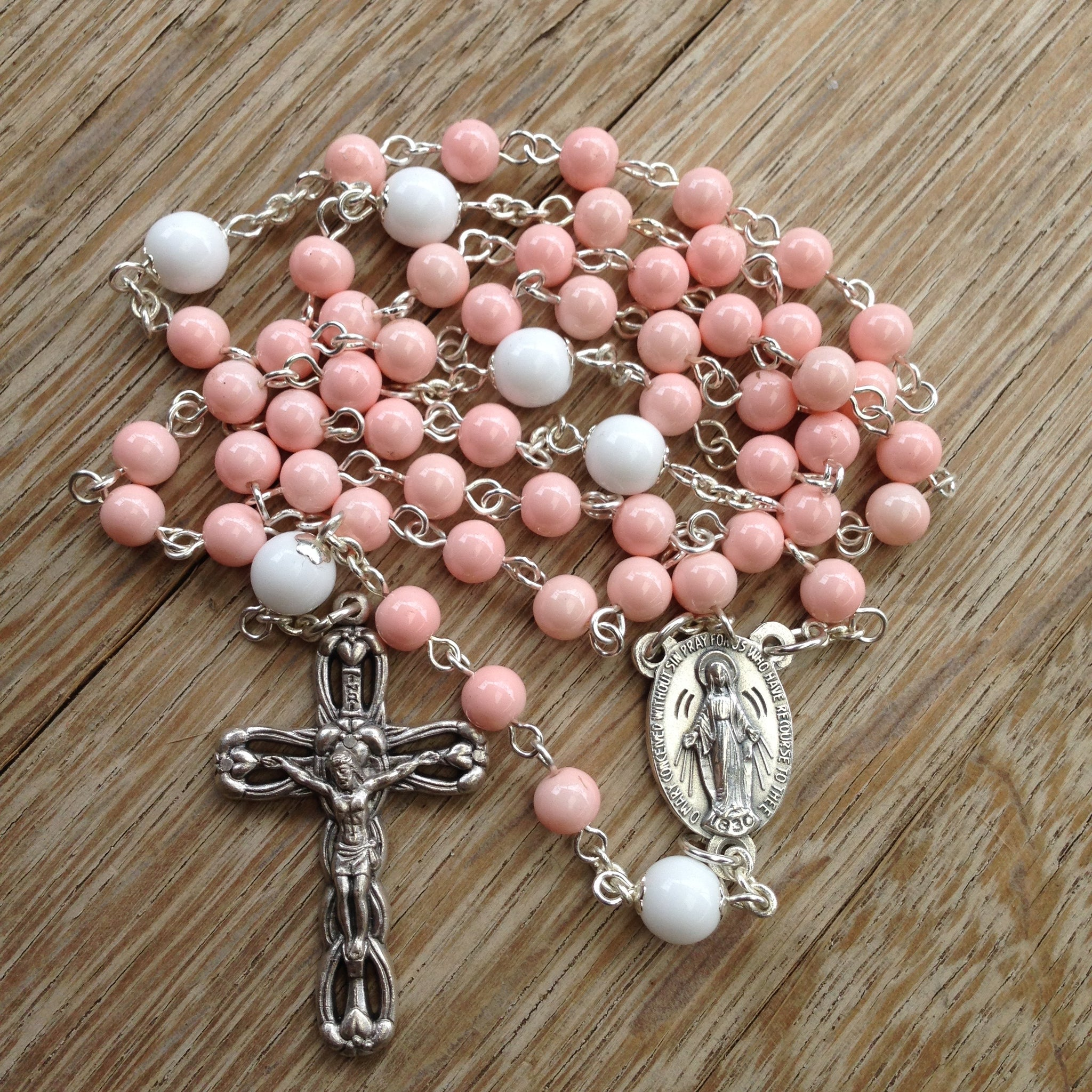 Miraculous Medal pink rosary