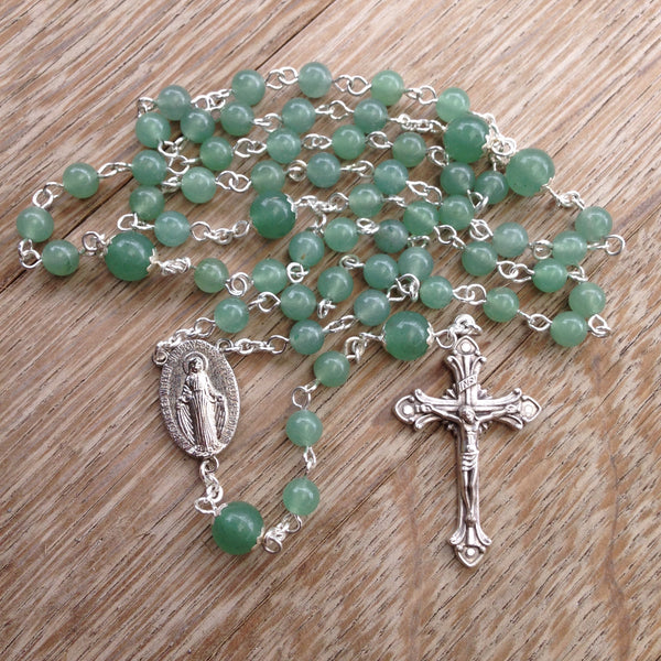 Miraculous Medal Rosary with green Aventurine beads