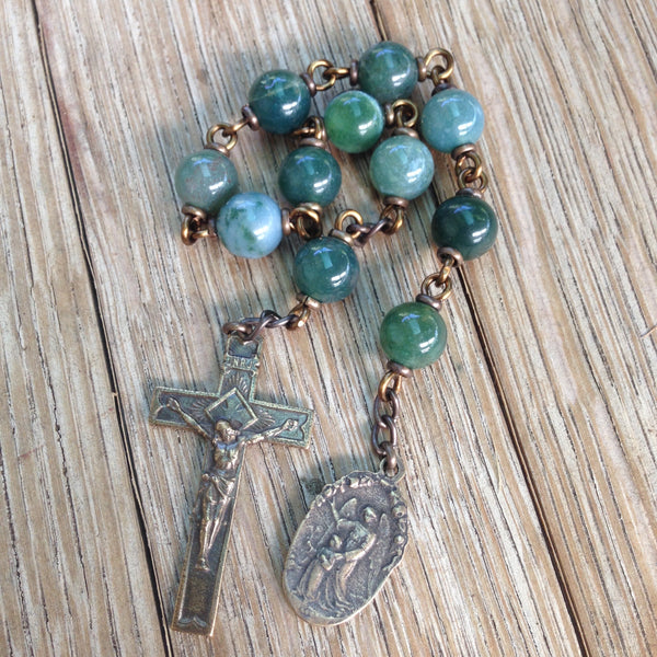 Bronze St. Joseph pocket rosary