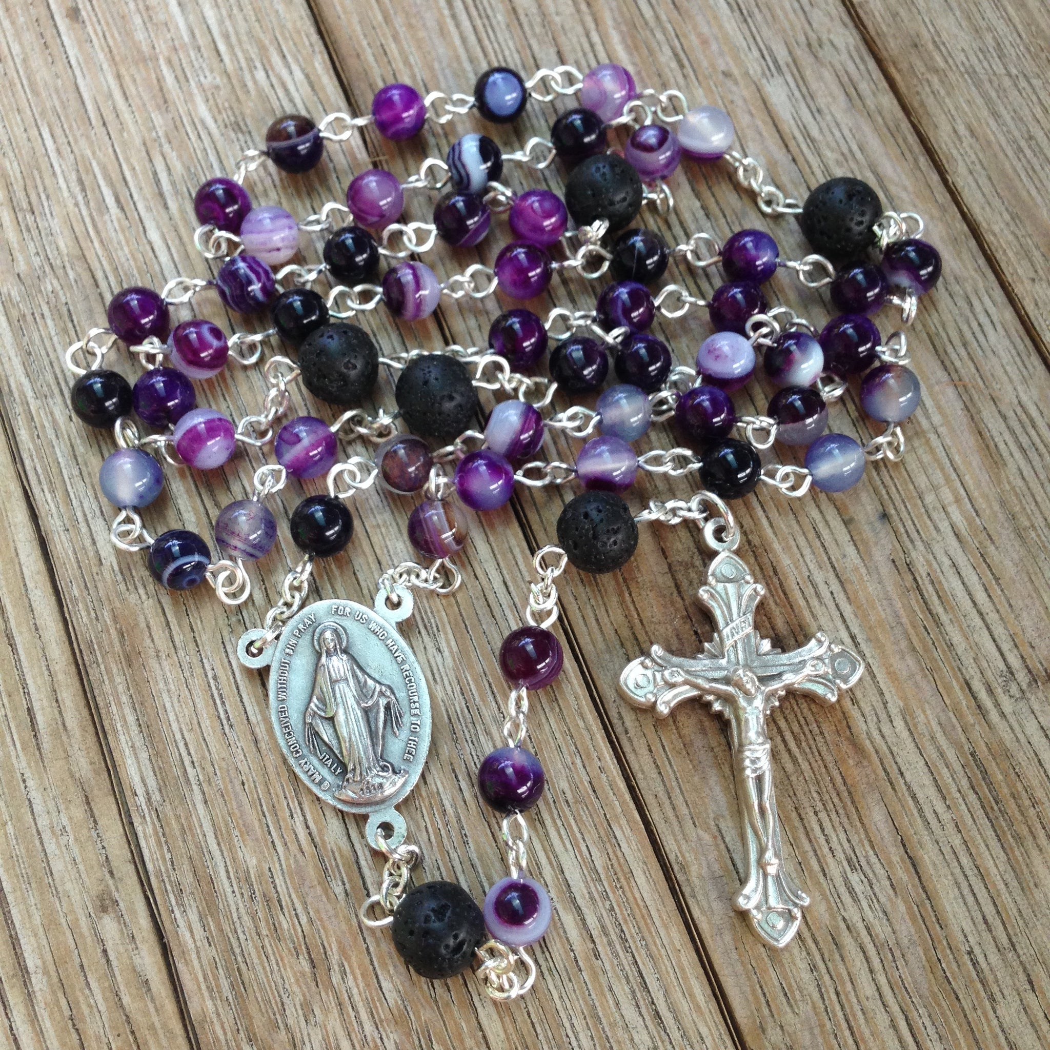 Aromatherapy Car Rosary with purple agate beads