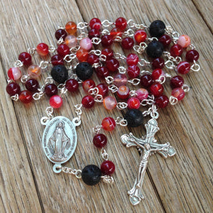 Aromatherapy Car Rosary with red agate beads
