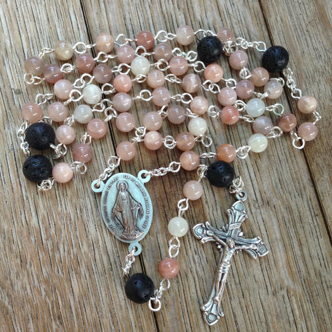 Aromatherapy car rosary with sunstone beads