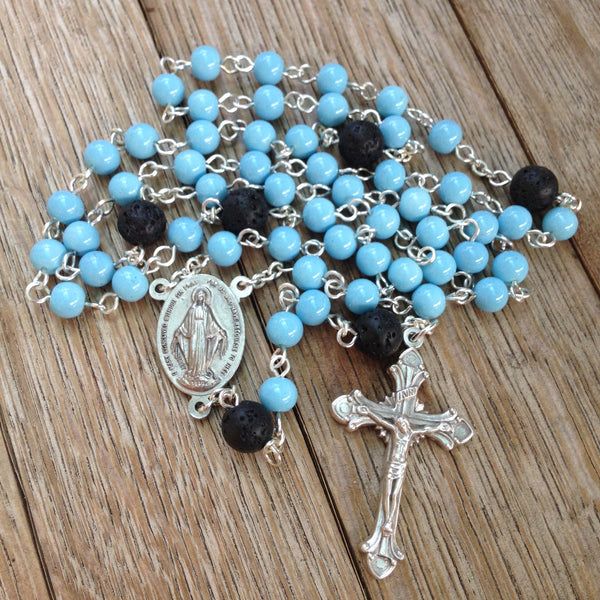 Aromatherapy rosary with blue glass beads