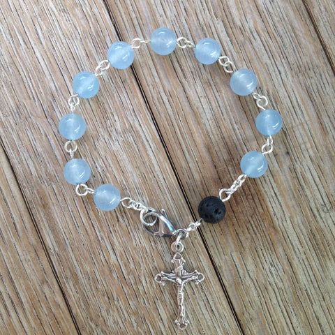 Aromatherapy Rosary bracelet with blue jade beads