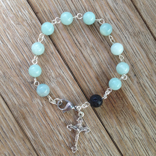 Aromatherapy Rosary bracelet with Amazonite beads