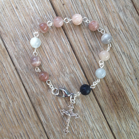 Aromatherapy Rosary Bracelet with sunstone beads