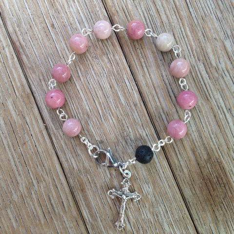 Aromatherapy Rosary bracelet with rhodonite beads