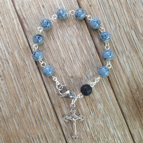 Aromatherapy Rosary bracelet with grey glass beads