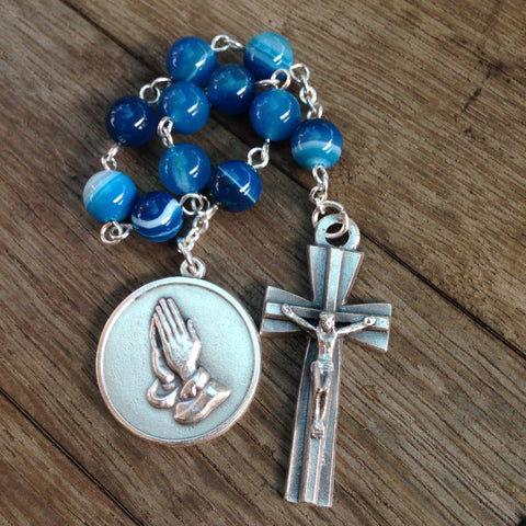 Blue pocket rosary with serenity prayer