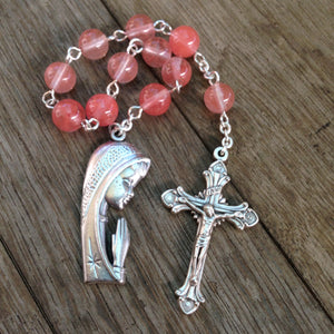 Pink Catholic pocket rosary with Madonna medal