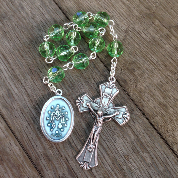 Miraculous Medal Pocket Rosary with Green glass beads